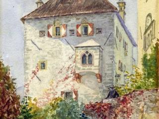 Schilderijtje uit 1910 van de Wehrburg gemaakt door juffr Louise Wittich, de gezelschapsdame van Maxe, die (na Maxes dood) Armgard en Árpád af en toe kwam bijstaan.