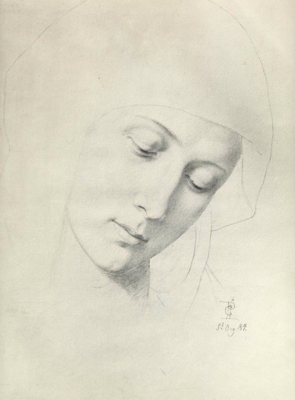 Schets Ella von Arnim-Riese die poseerde als Madonna voor een schilderij dat in de Berlijnse Dom gehangen heeft. Het schilderij is verloren gegaan bij het bombardement op Berlijn.
